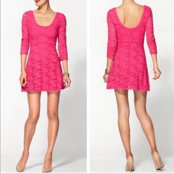 Free People Dresses & Skirts - Free People Lace Hot Pink Rose Garden A-Line Dress
